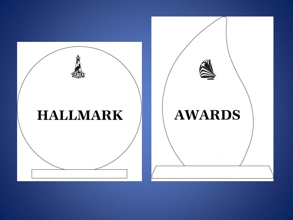 """Hallmark Award"" on awards with blue background"
