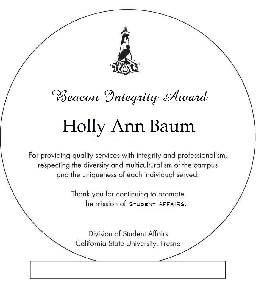 Holly Ann Baum's Beacon Integrity Award