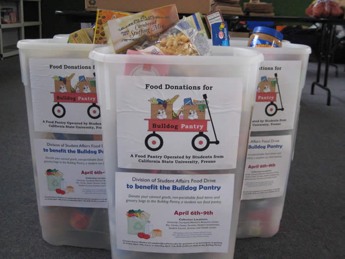 Donation bins for Bulldog Pantry