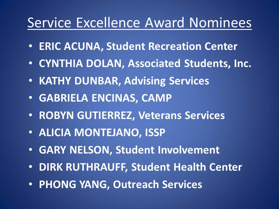 Service Excellence Award 2013 Nominees