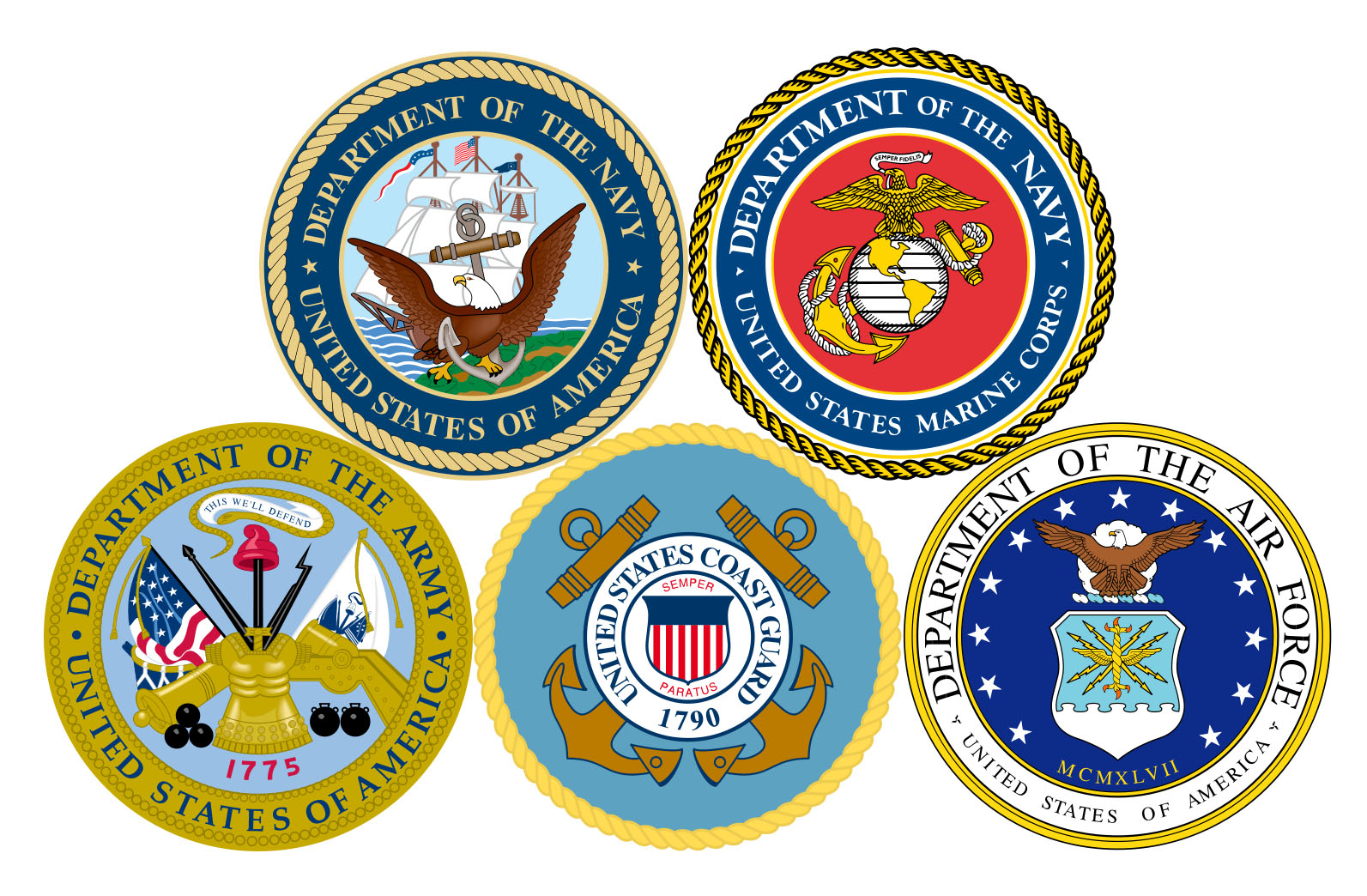 The five seals of the military branches including the navy, the marines, the air force, the cost guard and the army.