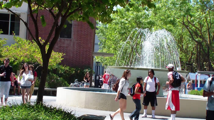 students around the campus fountain