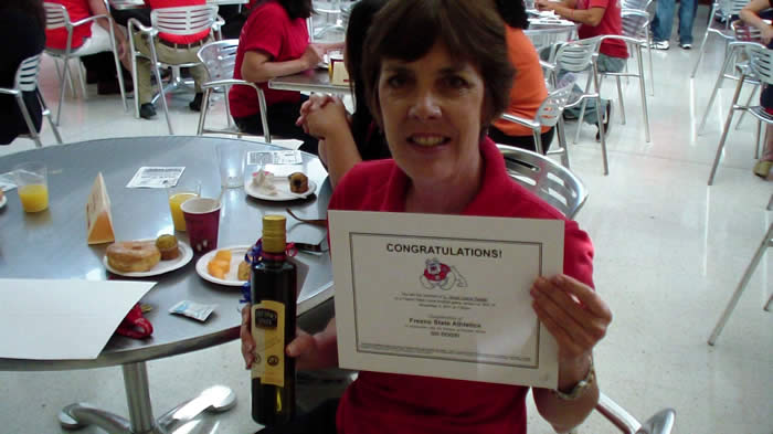 Karen won raffle prize at Red Friday.
