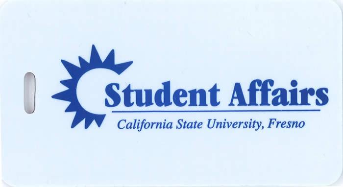 Luggage Tag with Student Affairs logo on it