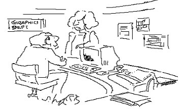 cartoon: man and woman talking to each other in a graphic design firm