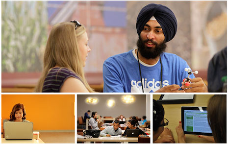 Picture collage of tutoring in the Learning Center