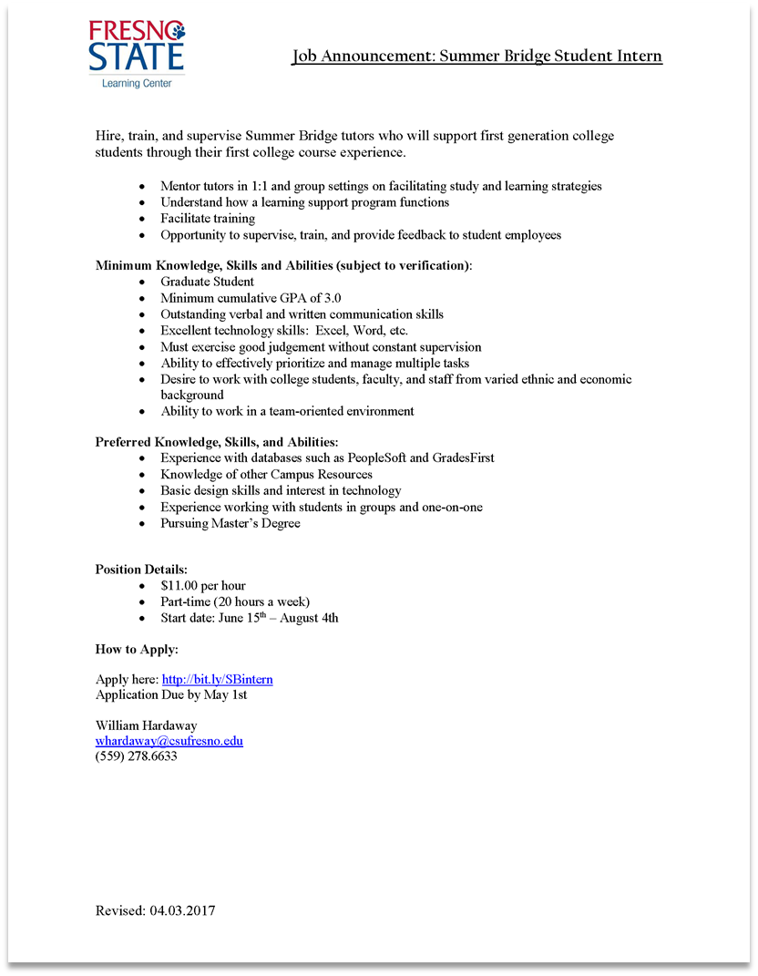 Summer Bridge Intern Job Description