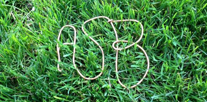 ASB wire lettering in green grass