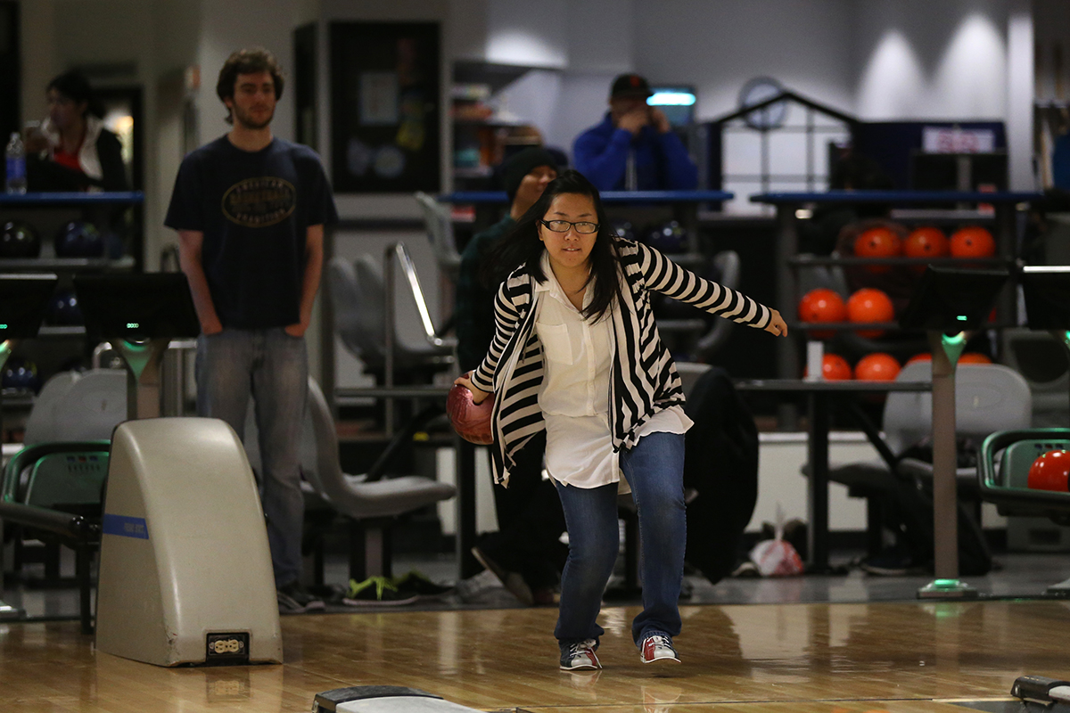 Students bowling at the Bulldog Bowl