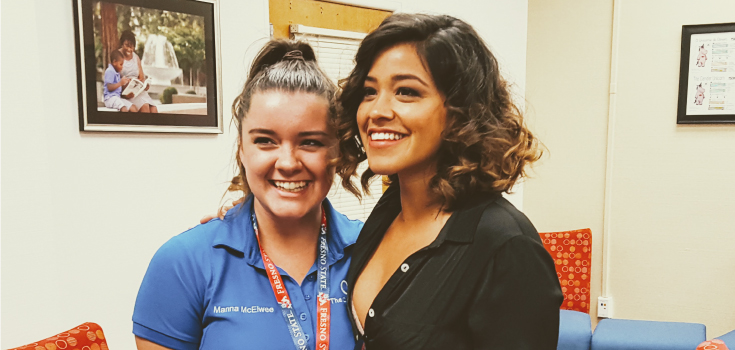 Student with Gina Rodriguez