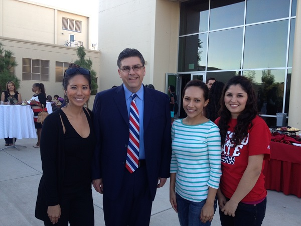 President Castro with students at an event
