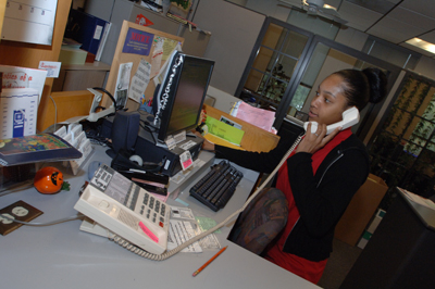 Student Working in Reservation Center